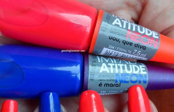 Impala Atitude Neon - Uau, que Diva (vermelho coral), É mara! (azul)