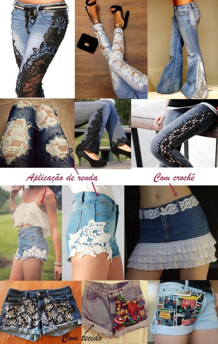 Jeans - aplicação de rendas e tecidos