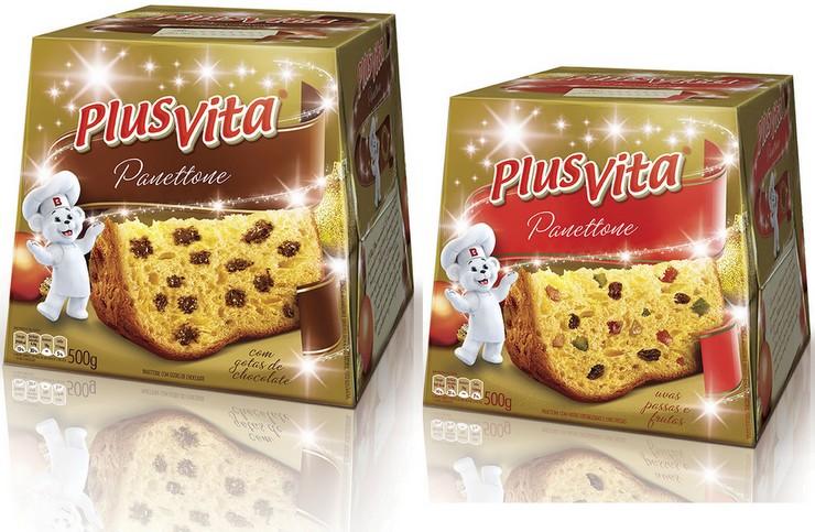 Panetones Plus Vita - Uvas Passas e Frutas e Gotas de Chocolate