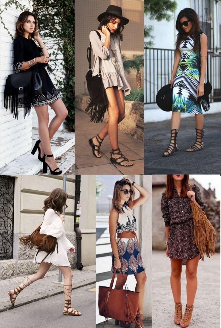 Vestidos - Bolsas com Franjas