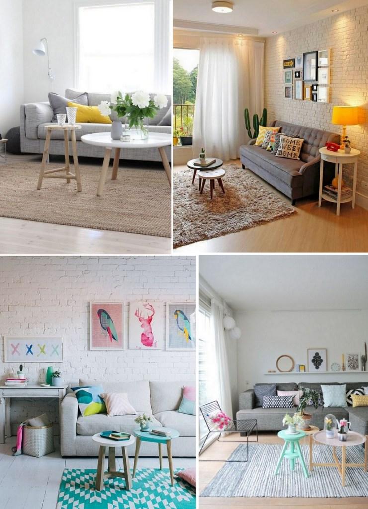 Sofá cinza - decor colorida