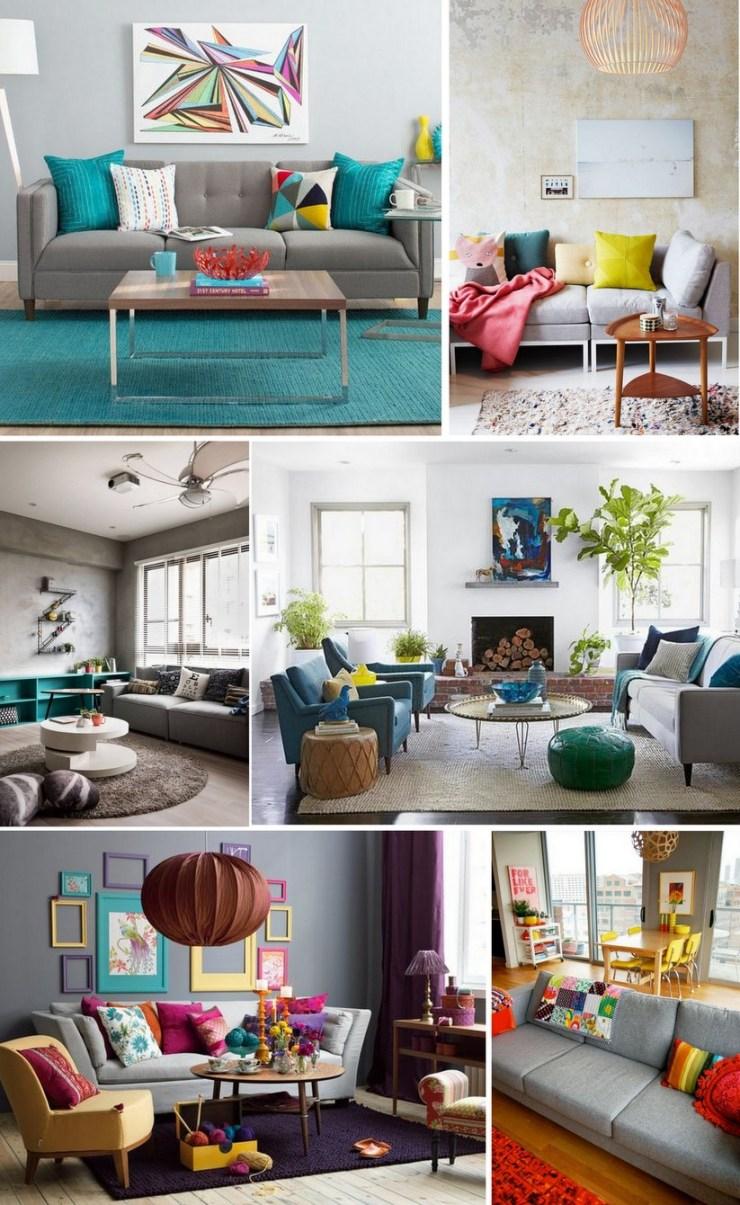 Sofá cinza - decoração colorida