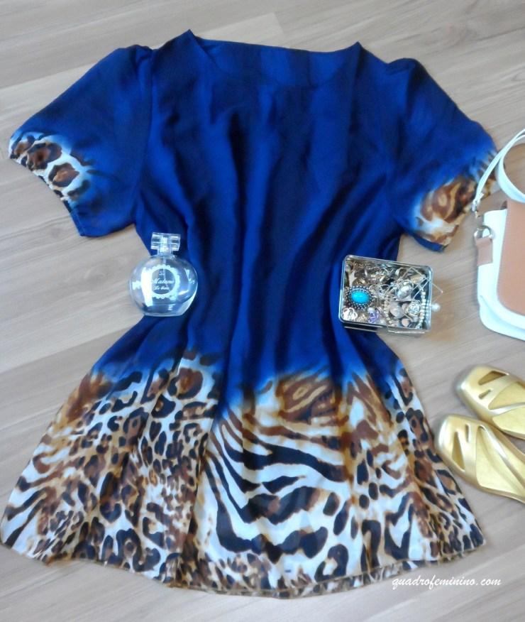 Vestido azul com leopard print da SammyDress