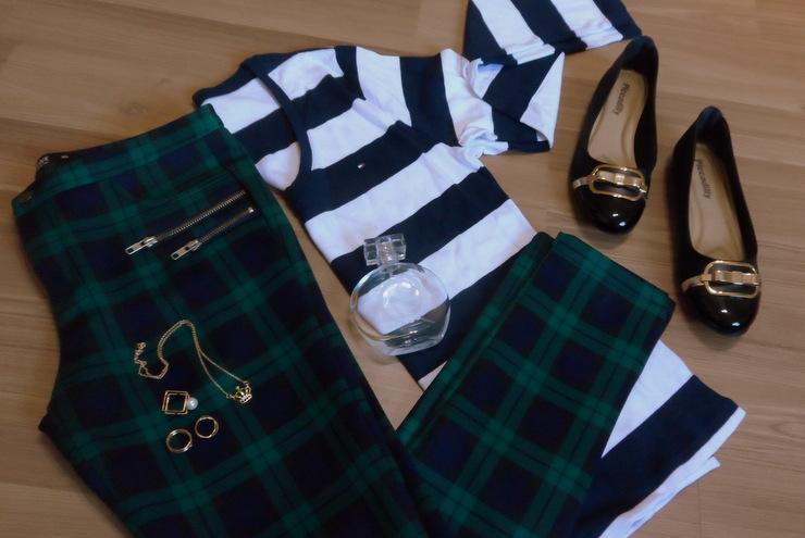 Calça xadrez, camisa listrada e sapatilha Piccadilly 1