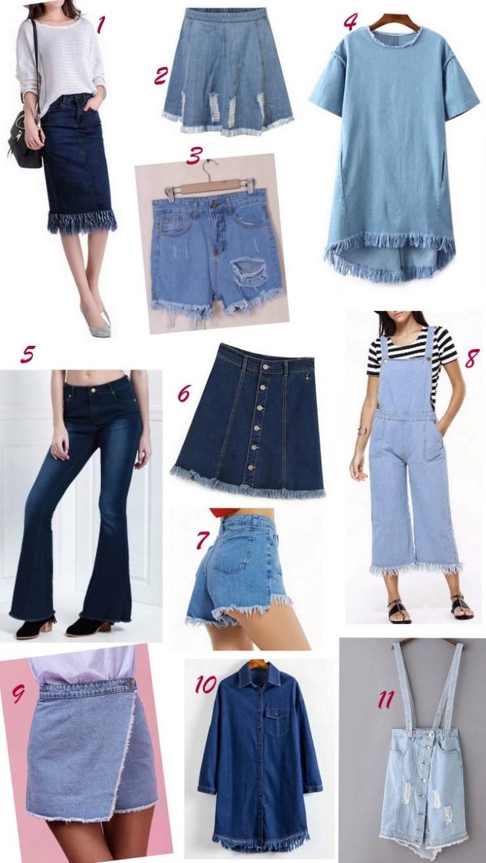 Peças com jeans desfiado