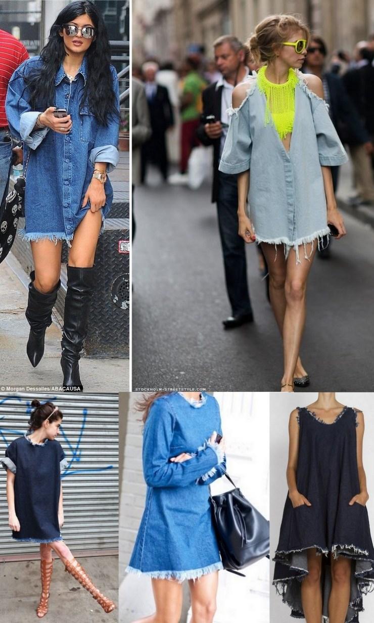jeans desfiado - vestidos