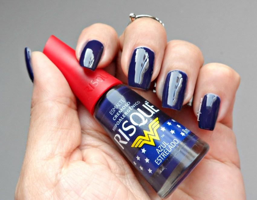 Esmalte Azul Estrelado Risqué Mulher Maravilha