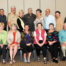 2014/2015 Quail Creek Seminar Class, seated left to right: Diana Schwartz, Gail Scheibner, Margot Elsner, Suzan Bryceland, Patty Hall, Joyce Shumate, Yvonne La Brec, Steve Piepmeier, David Elsner, Diana Diou and standing: Lee Asbell, Jim Asbell, Ron Woelfel, Jeff Webber, Jennifer Doyle, POA Board Leader Gil Lusk, Vicki Sullivan, John O'Rourke, Dusty Friedman, Jeff Krueger and Rich Diou. Class members not pictured are Jim Avent, Peg Avent, Mike Laux and Deborah O'Rourke. Photo by Ken Haley