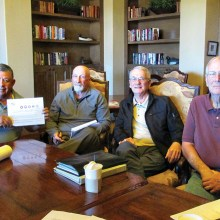"""Getting ready for 2016. Tournament Chairman Rene Gill, CD """"Jake"""" Jacobs, Gunter Schmidt and Jim Robinson work on the tournament plans for 2016."""
