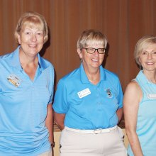Cathy Thiele, (center) joins Janet Wegner (left) and Roxanne May who recently scored under 40 for the first time; photo by Sylvia Butler.