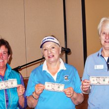Left to right: Mystery Money Hole Winners Patty Hall, Frieda Hyles and Peggy Brown show off their winnings; photo by Sylvia Butler.