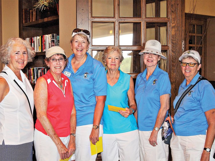 Left to right: 2nd place team Lady Golfers President Chris Gould congratulates Sandra Hrovatin, Janet Wegner, Lindsay Dickinson and Joyce Walton while Cathy Thiele looks on; photo by Sylvia Butler