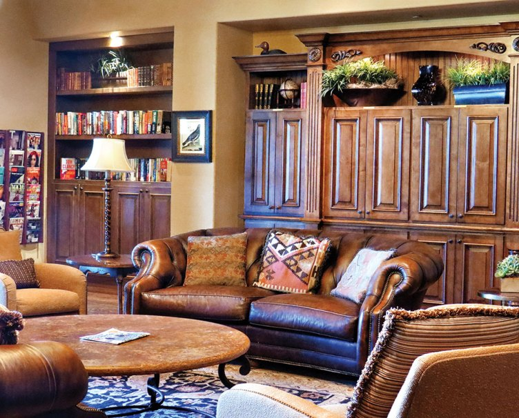 Comfy furniture from the main room of the Quail Creek Grill has been moved into the library.
