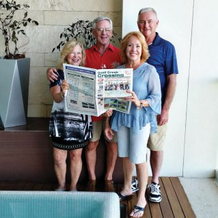 Terry and Cathy Hasson, along with friends, Art and Connie Duval, enjoyed keeping up with QC residents while visiting Nuevo Vallarta, Mexico in January.