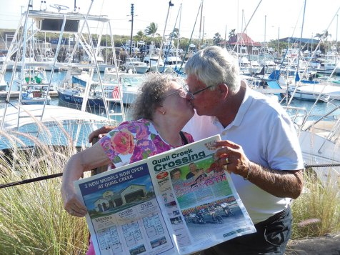 Penny and Richard Henry enjoyed not only the sights in Kauai, Hawaii, but a celebration smooch!