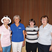 Left to right: Sung Whitehead, Saville Gardner, Sharon Prusak and Peggy Wynkoop all got scores under 40 for the first time in their putting careers; Photo by Sylvia Butler.