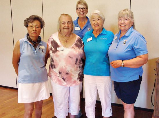 Getting five or more holes-in-one in one session were (front row, left to right): Yoshie Hennessy, Sylvia Butler, Barbara De Lange, Suzan Bryceland and (back row) Janet Wegner. Photo by Sylvia Butler.