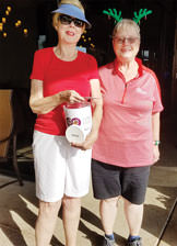 Joyce Walton (left) and Vicki Mahr hold the donation jar containing $710 for the Green Valley Food Bank. Photo by Peggy McGee.