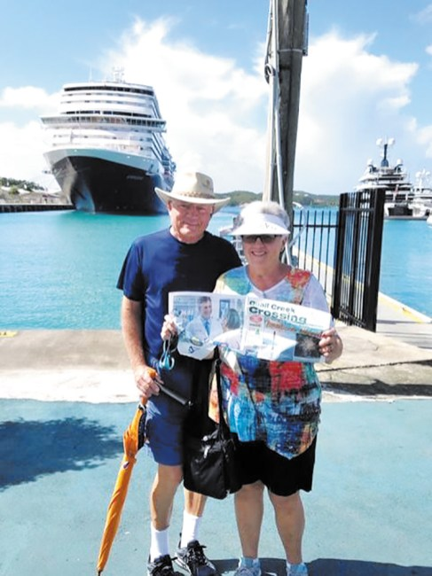 Ken and Judy McCormick enjoying a cruise on the Koningsdam through the Southern Caribbean.