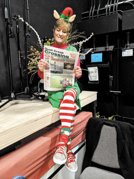 And what little elf do we have here enjoying the Crossing behind the scenes of our very own Quail Creek Christmas Show? Thanks Davey and Mary!