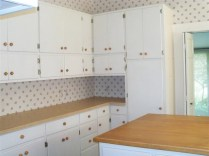 Kitchen cabinets with butcher block