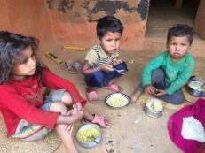 The kids are eating instant ramen noodles mixed with beaten rice, the only relief supply they have received thus far