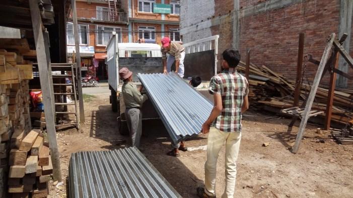 Loading supplies in Kathmandu