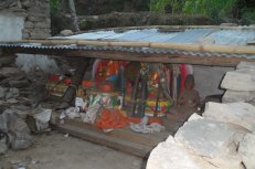 The quake destroyed the gompa in Kali's village, so they built this makeshift shrine.