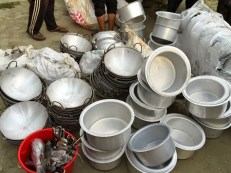 Cooking pots, ladles, plates and buckets