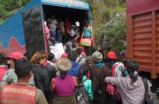 The distribution was carried out in Sano Bharku. People walked for 3 hours each way to receive the supplies.