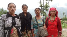 Four of the five new mothers who received special supplies through Nehi Fund