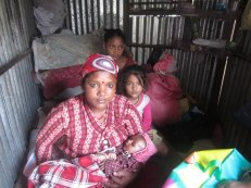 Tulasha Damai of Lubhu VDC, Ward No 2, gave birth to her fourth child soon after the earthquake Her family is living inside a cramped temporary shelter. Tulasha's health is improving but her baby is suffering from pneumonia. Her husband is a roadside tailor. The family has no other source of income.