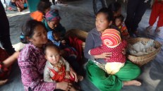 Mothers and children at Naubise camp