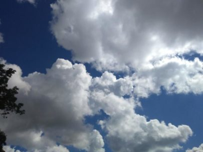 White and grey clouds with sunlight and bright blue sky, two days before Tropical Storm Florence.
