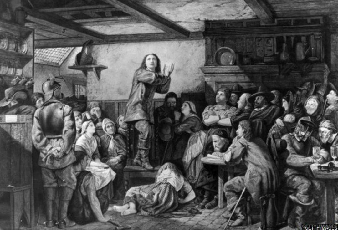 George Fox Preaching in Tavern