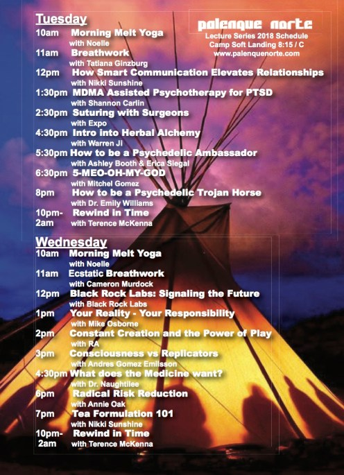 Palenque Norte schedule 2018 (Tuesday & Wednesday)