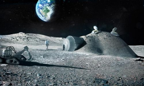 Moon base with Earth rising