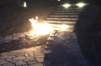 Custom Stone Fire Pit at Night