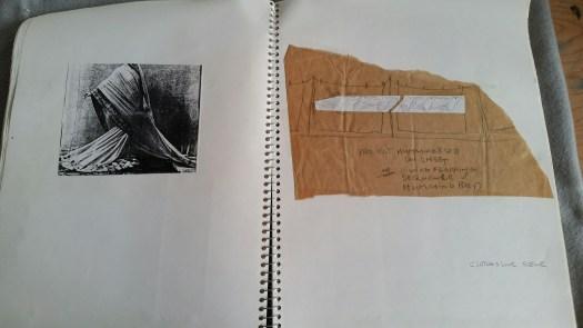 DeGroodt DCK sketchbook, Ruth's flowing gown, hummingbird slide projection on sheets, 1992