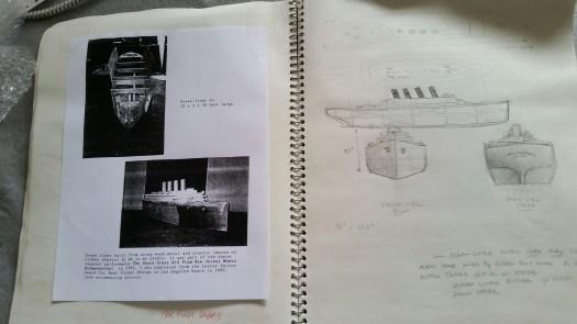 Steve DeGroodt DCK sketchbook, Rudy Perez. 1992 Cunard liner model being built