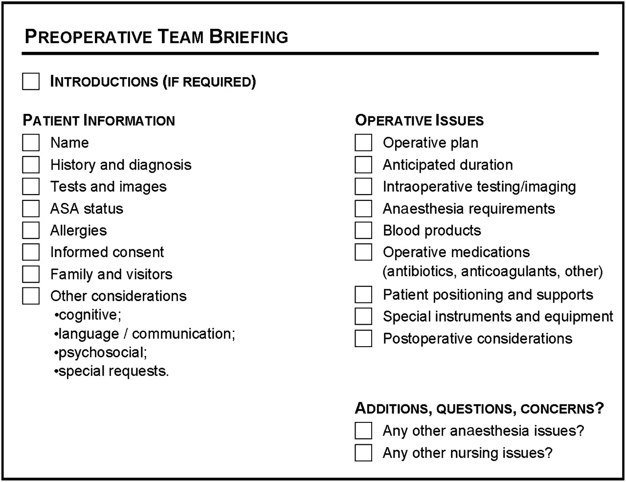 Evaluation Of A Preoperative Team Briefing A New Communication Routine Results In Improved