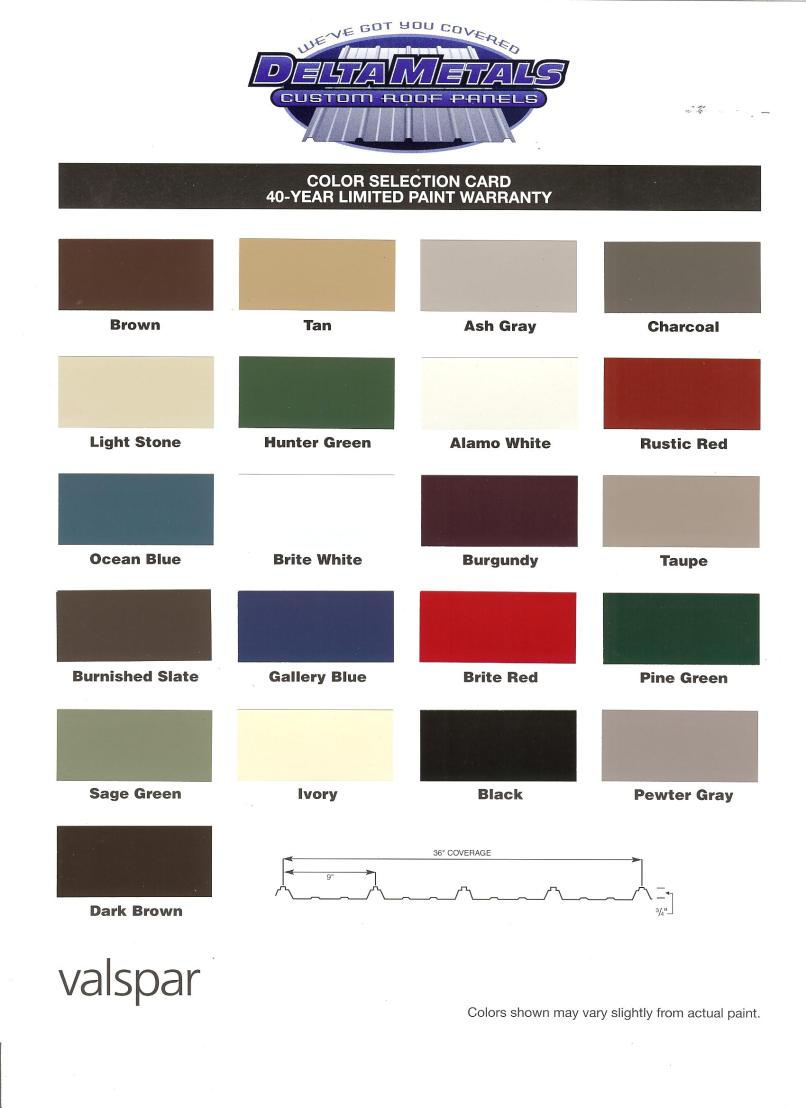 galvalume color chart | mountainstyle co