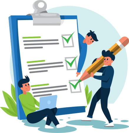 Illustration of man using pencil to mark off a checklist