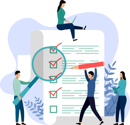 illustration of a team working on a checklist