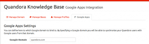 Google Apps tab in Quandora
