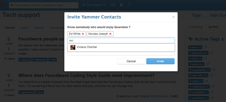 Invite Yammer contacts
