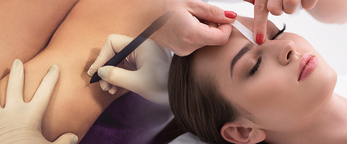 Woman undergoing electrolysis, brow shaping