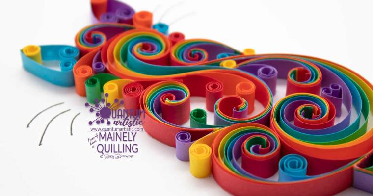 Rainbow Quilled Scrollwork Cat