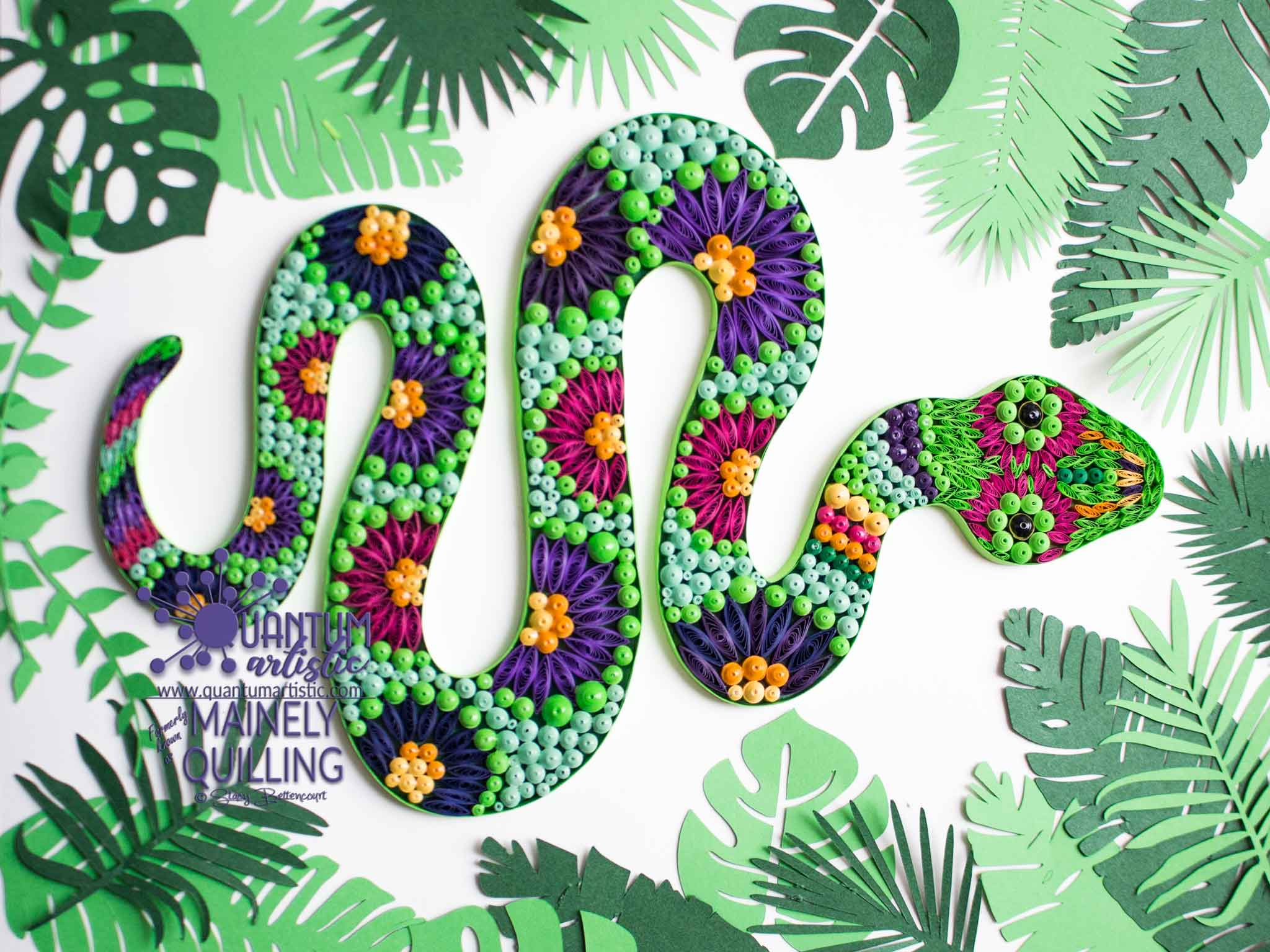 Paper Quilled Floral Snake