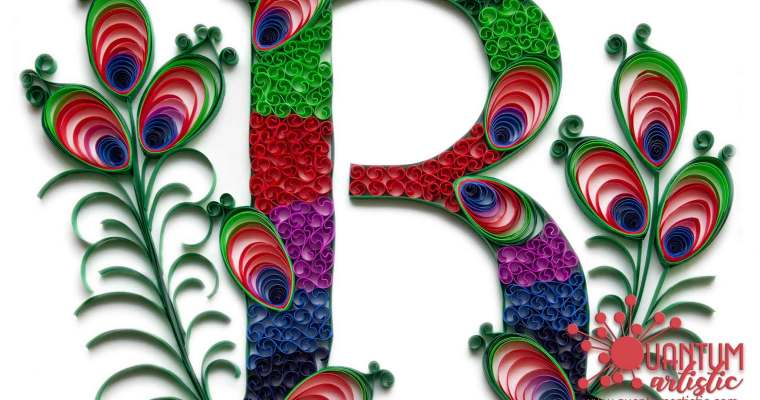 Paper Quilled Peacock Monogram | Letter R